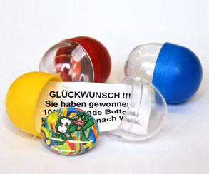 Buttonautomat, Kapseln, Inhalt Gutschein