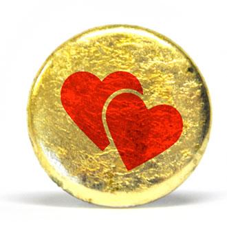 Goldbutton, Button mit Herzen