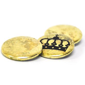 Goldbutton, 3 Buttons mit Blattgold