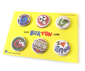 Buttons auf Postkarte